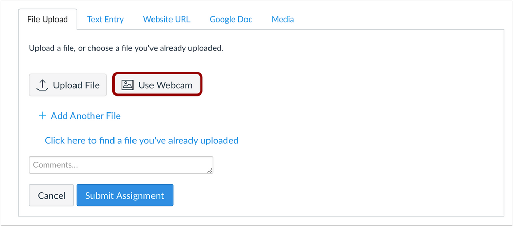 use webcam for submission