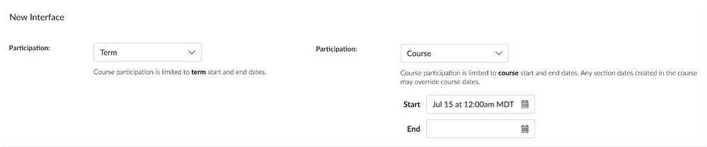 Course Availability Date - New participation options