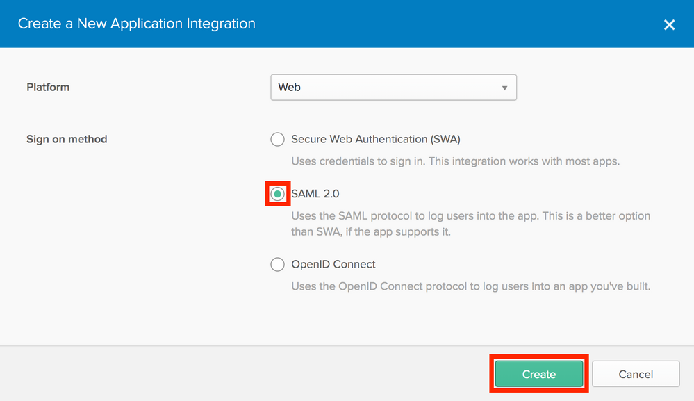 Select SAML 2.0 and Create button