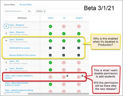 Beta: Permissions, Users - Students is enabled