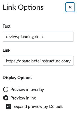 Beta Link Options flyout with no options to disable the inline preview