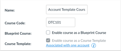 Course Template Option Grayed Out