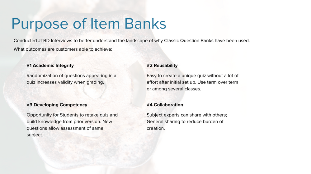 Defined the context of why you use Item Banks