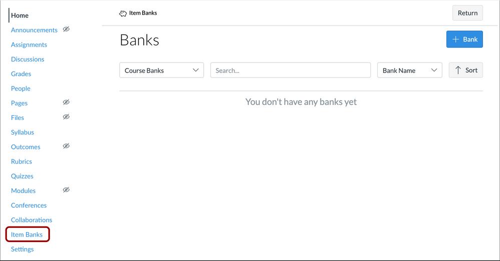 Item Banks Course Navigation Menu Link