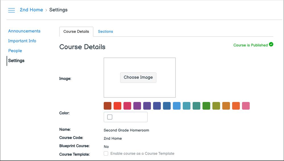 Homeroom Course Settings Page