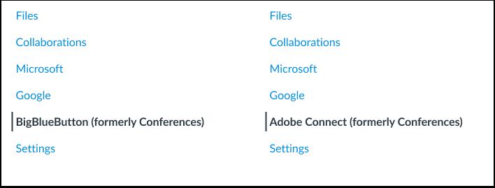 Conferences Course Navigation Links