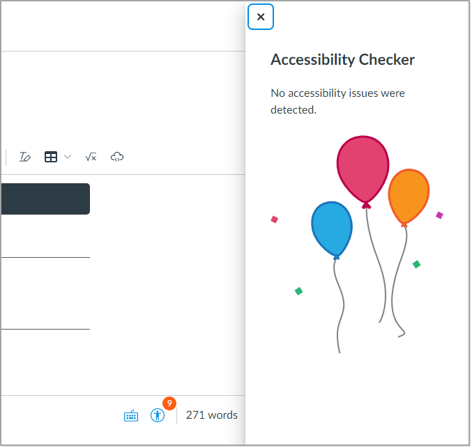 Accessibility Check in rich content editor