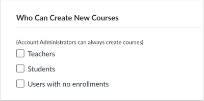 Account Settings: Who Can Create New Courses