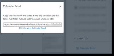 Calendar feed from Canvas calendar